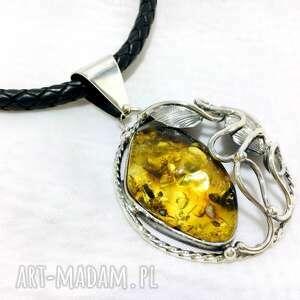 srebrny wisiorek koło z bursztynem bałtyckim, wisiorek, srebro925, rękodzieło