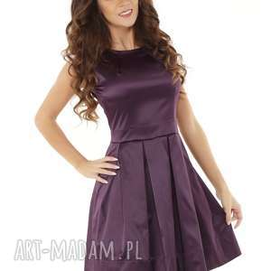 Sukienka kontrafałda kolor śliwkowy, elegancka-sukienka, sylwestrowa-sukienka