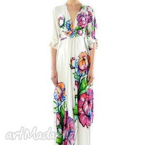 sukienki magdalena maxi flower - sukienka, lato, wiosna, długa, biała, kwiat