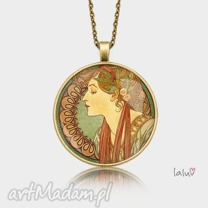 medalion okrągły laurel, alfons, mucha, reprodukcja, obraz, sztuka, prezent biżuteria