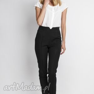 Spodnie z wysokim stanem, SD112 czarny, wysokie, czarne, długie, zakek, eleganckie