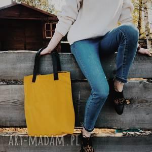 torba mr m velvet brzoskwiniowa /uszy skóra naturalna, shopper, pomarańcz