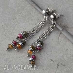 kolorowy turmalin wiszące srebrne kolczyki na sztyftach, turmalin, srebro