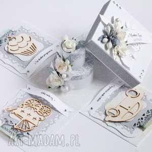 ręczne wykonanie scrapbooking kartki exploding box - pamiątka ślubu tort
