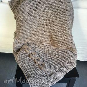 koc, gruby pled beżowy 130x160 cm, pled, wełna, knitting, handmade, narzuta