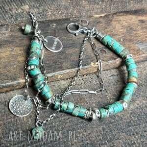 bransoletka srebrna z turkusem afrykańskim, srebrna