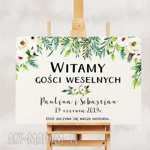 zaproszenia obraz powitalny - romantyczne kwiaty - 50x70 cm - na wesele ślub