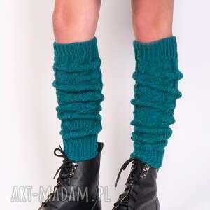 2 w 1 getry lub rękawki warkoczowy wzór - zielony, na nogi, rękawiczki