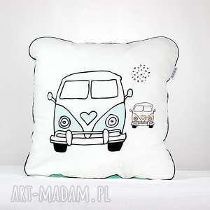 Poduszka Bus Kamper 46x46, poduszka, dekoracyjna, pościel, chłopiec, minky, kamper