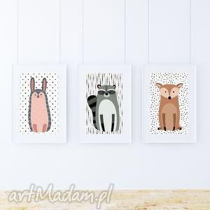 pokoik dziecka zestaw plakatów / woodland friends a3, zwierzaki, kropki, zajączek