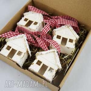 ośnieżone domki - ozdoba świąteczna, na choinkę