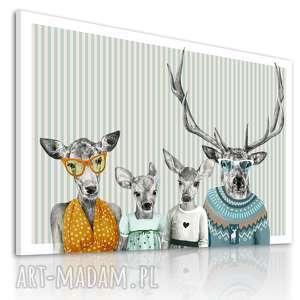 obraz na płótnie - 120x80cm rodzina jeleni retro 02247 wysyłka w 24h, grafika