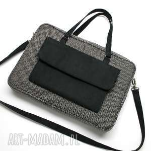 torba na laptop - tkanina w jodełkę grey i sztuczny zamsz czarny - elegancka
