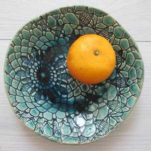 ceramika koronkowa turkusowa miseczka, miska, ceramiczna, z koronką