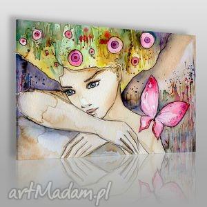 obraz na płótnie - kobieta motyl 120x80 cm 22701, kobieta, motyl, artystyczny
