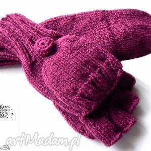 bezpalczatki z klapką 1 - rękawiczki, klapka, mitenki, druty