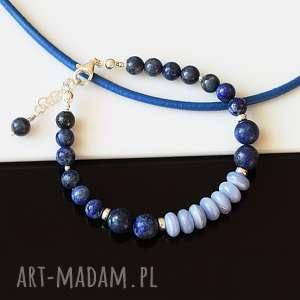 Lapis lazuli z chalcedonem - bransoletka, lapis, lazuli, chalcedon, srebro