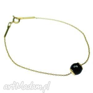 hand made bransoletki bransoletka onyx & gold ball
