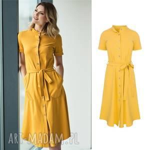 sukienka koszulowa z guzikami safari mango, sukienka, dzianina, bawełna, szmizjerka