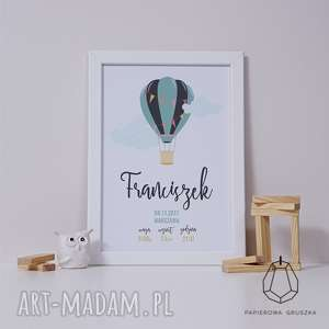Prezent METRYCZKA turkusowy balon, metryczka, plakat, obrazek, prezent, roczek
