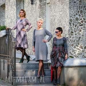sukienki sukienka z dzianiny podpinana oversize pepita blue, jesień, zima, polska