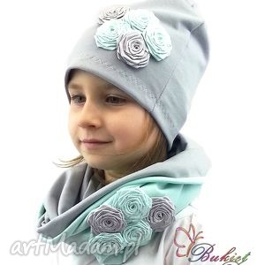 Miętowy komplet dla dziewczynki kominy bukiet pasji czapka
