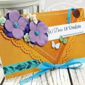 kartka na 18-stkę -pomarańcze i wrzosy, kartka, urodzinowa, 18, osiemnastka, urodziny