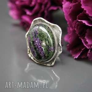 Zoisyt i rubin - pierścionek Earth born , pierścionek, srebrny, rubin, zoisyt
