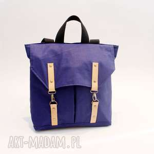 unikalny, plecak niebieski, plecak, karabinki