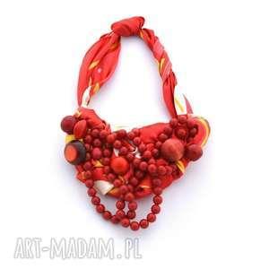 CZERWONE KORALE naszyjnik handmade, naszyjnik, kolia, wisior, korale, czerwone