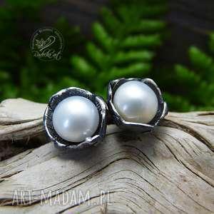 Dzwoneczki - Srebro i Perła, kolczyki, sztyfty, srebro, perła, romantyczne,