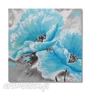Błękitne maki, nowoczesny obraz ręcznie malowany, kwiaty, obraz,