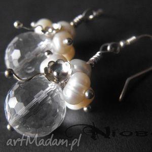 pure - komplet biżuterii z kryształem górskim, kryształ, perły, srebro