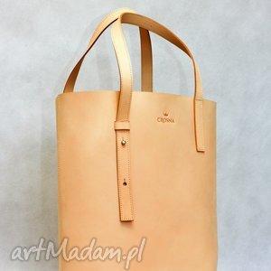 Stylowy Shopper bag ze skóry naturalnej, torebka, skórzana, skóra, shopper