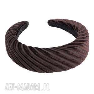 sotho gruba brązowa opaska w prążki - włosów, uniwersalna