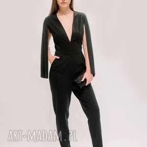 spodnie elegancki kombinezon, czarny eleganckie