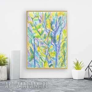 dżungla rysunek w ramce, oprawiony obrazek z dżunglą, ładny do sypialni