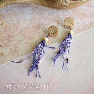 kolczyki boho z odciskiem liścia, boho, biżuteria, dla niej