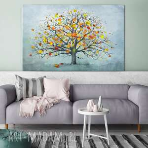 nowoczesny obraz do salonu drukowany na płótnie z drzewem, drzewo, duży format