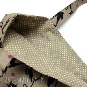 ręcznie robione torba bawełniana - koty i kropeczki beżowe