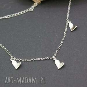 bransoletka srebrna z sercami na nogę, bransoletka, srebrna, serca, zawieszki