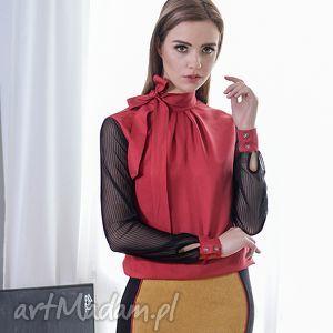 Prezent JEDWABNA BLUZKA Z KOKARDĄ, bluzka, jedwab, czerwień, czerń, kokarda, prezent