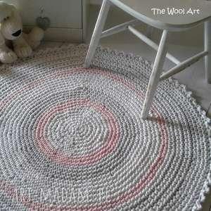 szydełkowy dywan ze sznurka, dywan, dywanik, okrągły-dywan, ze-sznurka