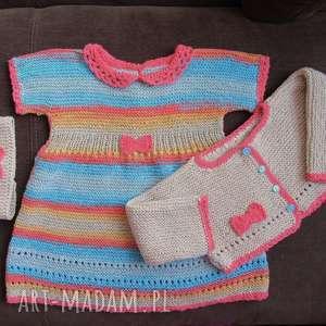 komplet kokardka, rękodzieło, sukienka, sweterek, bawełna, włóczka