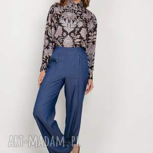 lanti urban fashion szerokie spodnie z płaskim przodem - sd124 jeans