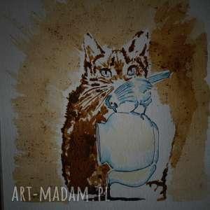 złapałem ptaszka - obraz kawą malowany - zamówienie