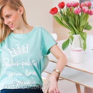 Miętowa koszulka padłaś powstań oversize wiosna lato koszulki