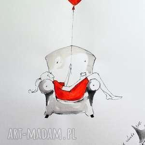 FLOW praca akwarelą i piórkiem artystki plastyka Adriany Laube, akwarela, kobieta