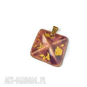 wisiorek emaliowany z 24ct złotem płatkowym, emalia jubilerska, złoto płatkowe