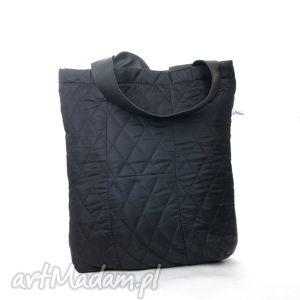 Pikowana czarna torba, torebka, pikowana, pojemna, duża